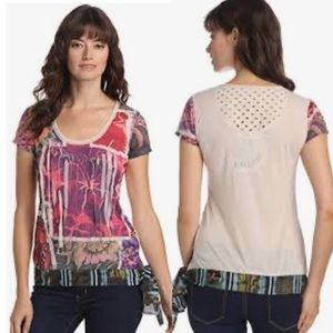 Desigual Viatri Top Multicolor Side Tie Tee Large